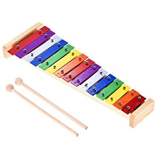 ammoon Glockenspiel Colorato Xilofono Legno e Alluminio Strumento Musicale a Percussione Giocattolo Educativo 15 Toni con 2 Modelli per Bambini