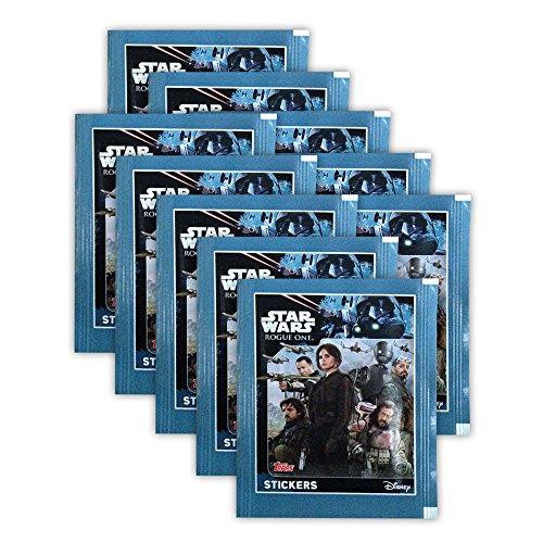 Preisvergleich Produktbild Topps Star Wars Rogue One Sticker Sammelbilder - 10 Booster Packungen - Deutsche Ausgabe