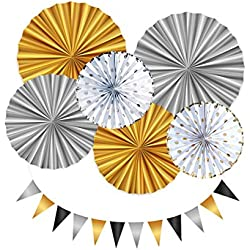 Set de decoración para fiestas - Ideal para cumpleaños, fiestas infantiles, bodas, fiesta baby shower o comuniones - Kit de Guirnaldas y abanicos decorados.
