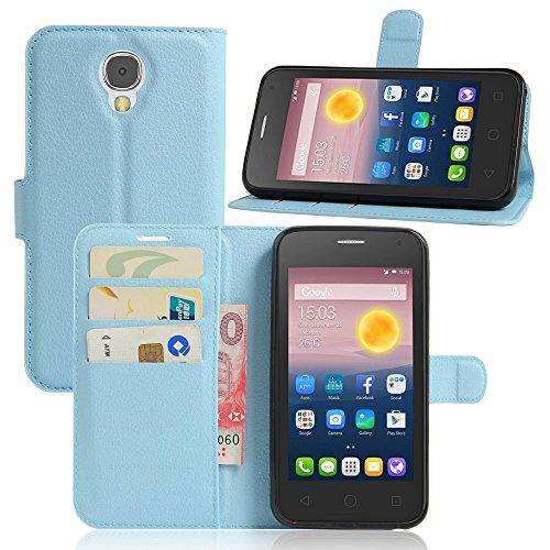 Tasche für Alcatel Pixi 4 (5.0 zoll) 5010D 3G Version Hülle, Ycloud PU Ledertasche Flip Cover Wallet Case Handyhülle mit Stand Function Credit Card Slots Bookstyle Purse Design blau
