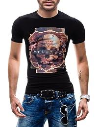 BOLF Herren T-shirt Figurbetont Kurzarm Basic Party Print Motiv 3C3