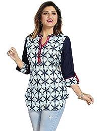 Color Petal Womens Cotton A Line Short Kurti, Tunic, Top
