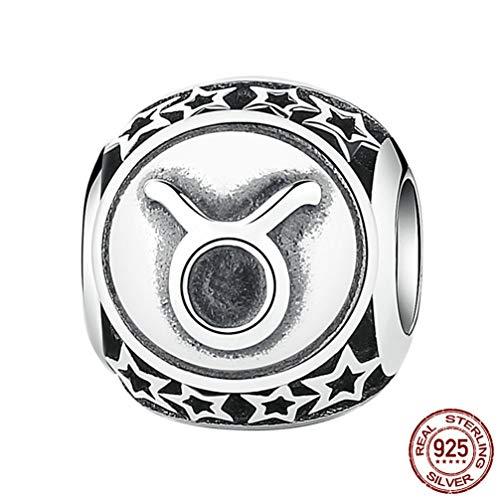 en für Armbänder, 12 Konstellationen Sterling Silber Star Bead DIY für Halskette Armband Schmuckherstellung und Crafting,Taurus ()