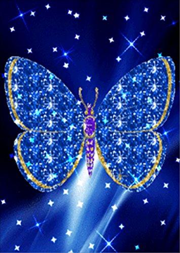 TianMai DIY 5d Diamant Peinture kit Cristaux Diamant Broderie Strass Peinture Collez-le Peinture par numéro Kits point de Craft Kit Home Decor Sticker mural - Étoile Bleu Papillon, 30x40cm