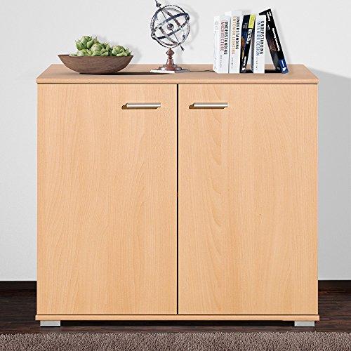 2 Tür Eiche Bücherschrank (Sideboard mit 2 Türen Buche Highboard Kommode Standschrank Mehrzweckschrank Schrank Anrichte Beistellkommode Typ 80)