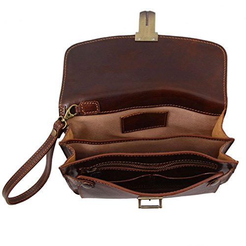 Tuscany Leather Max Borsello a mano in pelle Nero Marrone