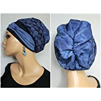 Beanie Mütze Ballonmütze Jeans Batik Rosen mit Band little things in life Chemo Cap Hat Chemomütze Mütze bei Krebs Kopfbedeckung Turban