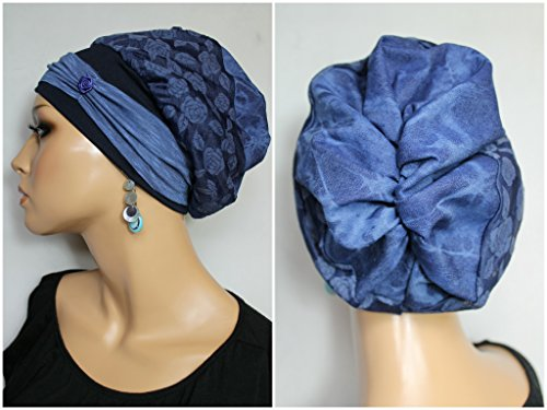 Beanie Mütze Ballonmütze Jeans Batik Rosen mit Band little things in life Chemo Cap...