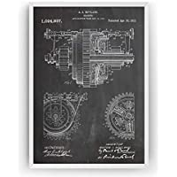 Engrenage Mécanique 1912 Affiche De Brevet - Mechanical Gearing Patent Poster Giclee Engineering Print Engineer Art Decor Décoration Cadeau Gift - Frame Not Included