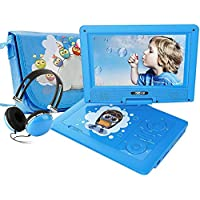"FUNAVO 9.5"" Portable DVD Player with Headphone, Carring Case, Swivel Screen, 5 Hours Rechargeable Battery, SD Card Slot and USB Port (Blue)"