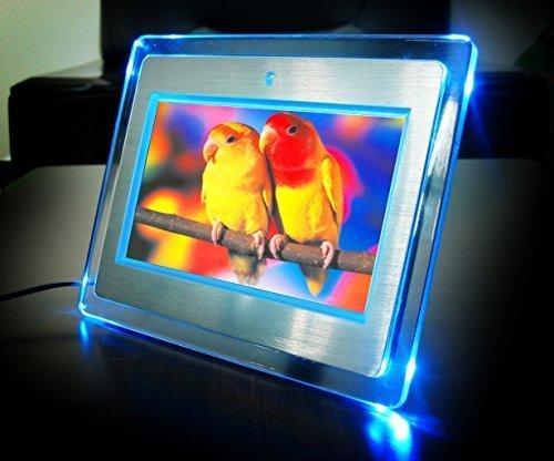 "7\"" Digitaler Bilderrahmen digital mit Aluminium und LED Beleuchtung 800x480 dpi"