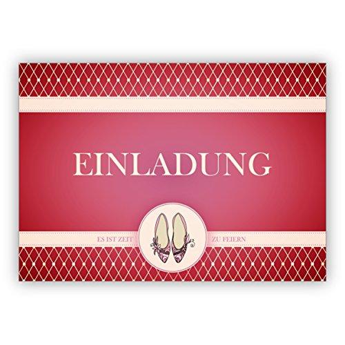 Im 5er Set: Edle Party Einladungskarte mit Cinderella Party Tanz Schuhen in rot: Einladung es ist Zeit zu feiern Cinderella Hochzeits-einladungen