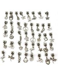 Pinzhi 40 x Abalorio Cuentas DIY Jewelry Accesorios Brazalete Pulseras Plata Tibetana