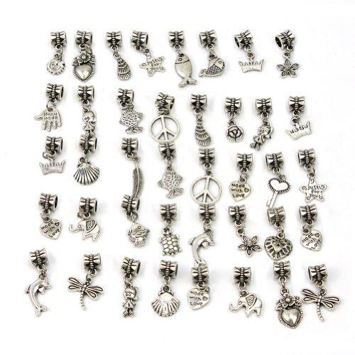 Und Charms Perlen Schmuck (Tibetanische Perlen mit Anhänger zum Basteln von Bettelarmbändern, 40Stück)