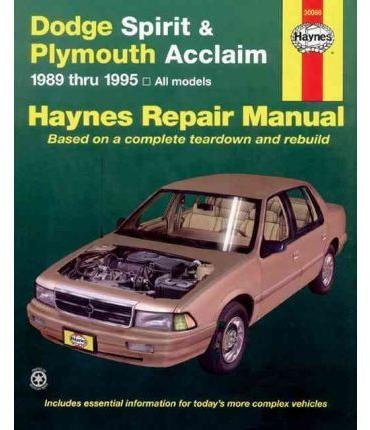 [(Dodge Spirit and Plymouth Acclaim (1989-1995) Automotive Repair Manual)] [By (author) Robert Maddox ] published on (October, 1995)