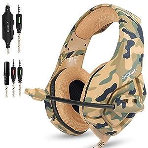 AFUNTA Gaming Headset für PS4 Neue Xbox one PC Mac, ONIKUMA Über Ohr 3,5mm Kopfhörer mit Mic Geräuschisolation Deep Bass Surround für Spiel Camouflage