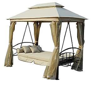 Gazebo parasole da giardino con dondolo letto e zanzariere - Letto a dondolo ...