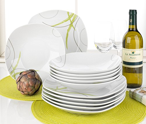 Tafelservice Geschirrset Tafel-Service MALIS | 12-tlg. (6 Personen) | Weiß-Grün | Porzellan