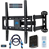Mounting Dream MD2377-KT TV Wall Mount Bracket Kit With Surge Protector 2 HDMI Cables Magnetic Bubble Level And Anti-static Screen Cleaning Gel For TVs Up To 66lbs 26-55 Inches And VESA 400x400mm