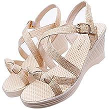 Berimaterry Sandalias Mujer Verano 2019 Cuña Moda Polaco Dull Costura Peep Toe Cuñas Hasp Sandalias Zapatos