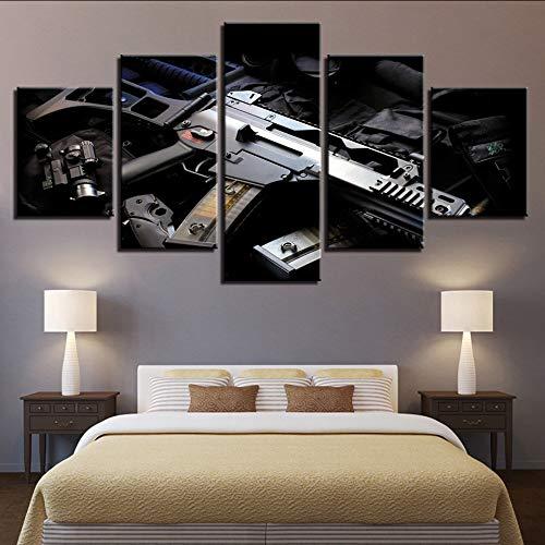 Wuwenw Leinwand Malerei Wandkunst Hd Druckt Gun Wohnkultur WaffeModularen Bilder Bedside Hintergrund Kunstwerk Poster-4X6/8/10Inch,With ()