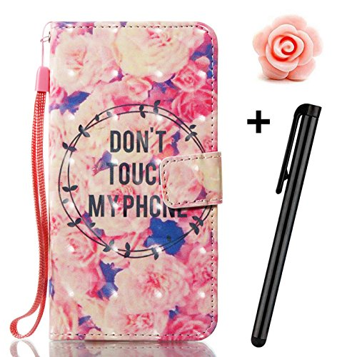 iPhone X Lederhülle Flip Wallet Cover,TOYYM 3D Kreativ Muster Hülle Schutzhülle Handytasche Brieftasche Hülle Klapphülle im Bookstyle,Folio Full Body Protection Ständer Magnet Ledertasche mit Kartenfä Don't Touch My Phone#1