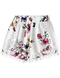 eb530d5852fb9 SHOBDW Moda para Mujer de Verano de Encaje Sexy impresión Cintura Media  hasta la Rodilla Suelta Pantalones Cortos de Cintura elástica…