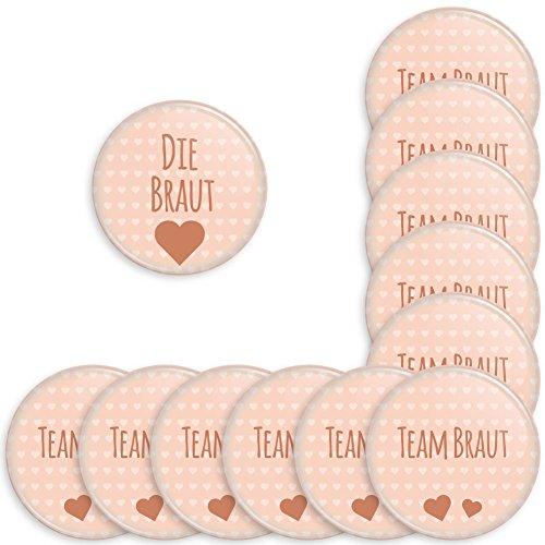 Werbewas 12er Set Runde Buttons für feierliche Anlässe - Hochzeit - Junggesellenabschied / JGA Party - Trauung (38mm) Motiv Team Braut - apricot mit Nadel-Anstecker