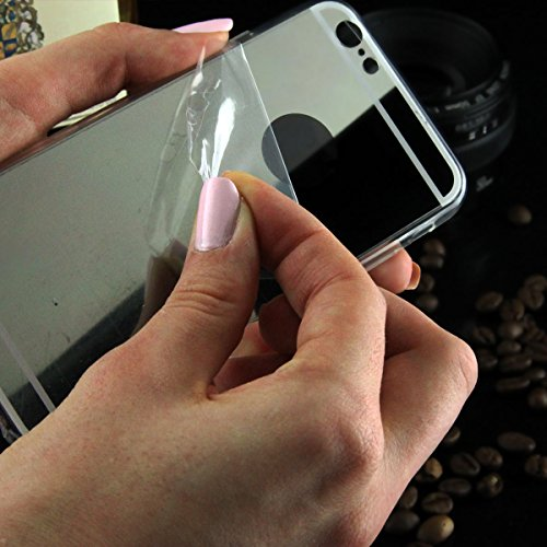 Ego® Lusso Back Case Cover di protezione specchio per iPhone Cover di protezione in silicone Mirror Effect leggero e elastico Custodia Back Cover Bumper, alluminio, nero, Hülle für iPhone 5 / 5s argento