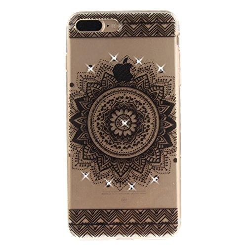 iPhone 7 Plus Hülle, Voguecase Bling Silikon Schutzhülle / Case / Cover / Hülle / TPU + PC Gel Skin für Apple iPhone 7 Plus 5.5(Diamant-Die Hälfte Blume) + Gratis Universal Eingabestift Diamant-Durchstochen Kreis 01/Schwarze