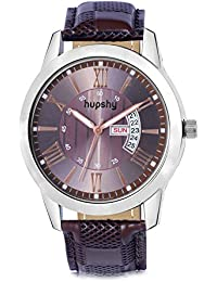 Hupshy® Analog Round Dial Men's Watch / Trendy Men's Watches / Watches For Men (Brown-Brown)