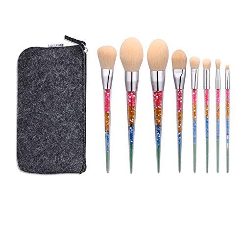 Robinson Premium Lot de 8 Licorne Brosse de paillettes strass acrylique Smoonth Poignée doux Cheveux Pinceaux de maquillage avec étui