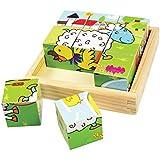 Bigjigs - 6 puzzles cubo con animales, 9 piezas (BIBJ536)