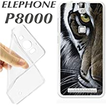 J381 ELEPHONE P8000 P 8000 CARCASA FUNDA TPU ANIMAL TIGRE DETALLE OJO FOTO