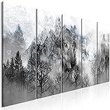 murando Bilder Wolf 225x90 cm - Vlies Leinwandbild - 5 Teilig - Kunstdruck - Modern - Wandbilder XXL - Wanddekoration - Design - Wand Bild - Gebirge Wald g-A-0141-b-m