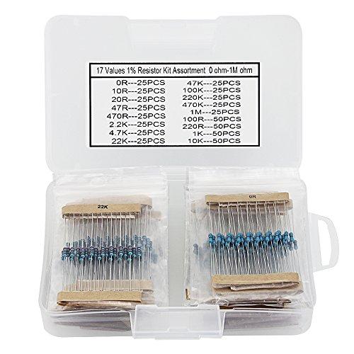 Preisvergleich Produktbild GOLRISEN Elegoo 17 Werte 1% Widerstandssatz-Sortiment,  0 Ohm-1M Ohm (525 Stück),  Pin (0, 022 Zoll,  0, 55 mm)