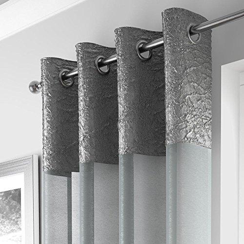 Mirabel - elegante tenda a pannello - ciniglia - attacco ad occhiello/asola - argento - l135 x lungh 229 cm
