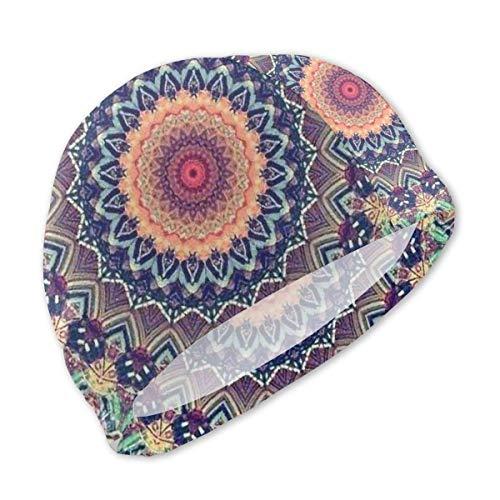 Gorro de Natacion, Gorro de baño, Tie Die Floral Mandala Swimming Cap for Kids Junior Swim Caps-Waterproof Long Hair Swim Hat Cover Ears Comfortable Bathing Cap