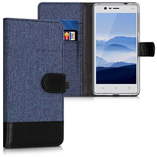 kwmobile Nokia 3 Hülle - Kunstleder Wallet Case für Nokia 3 mit Kartenfächern und Stand