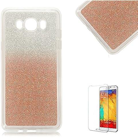 Custodia Samsung Galaxy J3 2016,Funyye Glitter Brillare Oro Rosa Graduale