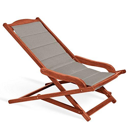 Fauteuil chaise longue rembourrée 75 x 103 x 63 cm, Mod.Biancospino 2pz Chaise longue en bois, accoudoirs ergonomiques, col.Taupe, fauteuil relax en bois rembourrée, Chaise longue terrasse, appuie-tête assorti inclus