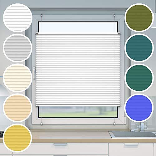 Victoria M. Plissee Klemmfix ohne Bohren EasyFix, Größe: 95 x 150 cm, Farbe: Weiss