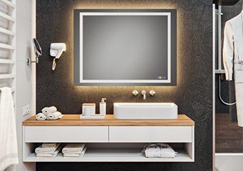 Badspiegel Badezimmer-Spiegel mit LOOX LED-Beleuchtung - Spiegelheizung & Soundsystem - Wandspiegel multifunktional - Modell Aquasys | 900 x 900 mm | GedoTec® powered by HÄFELE