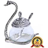 Rci Handicrafts Silver Oxidize Metal Home Decor Duck Shape Transparent Glass Mouth Freshner Bowl,Mukhwas Tray,Sugar,Sweets,Namkeen Container Bowl Tray Set,Traditional Set With Spoon Showpiece Return ,Wedding,Festival,Rakhi Gifts.