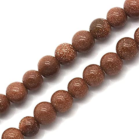 YC 2 Strands Gold Sandstone Loose Beads Round Coffee