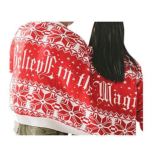 SEWORLD Weihnachten Vintage Christmas Zwei Personen Pullover Unisex Paare Pullover Neuheit Weihnachten Bluse Top Pullover Oberteile Sweatshirt(Rot,EU-40/CN-XL)