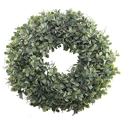 SODIAL Künstliche Grüne Bl?tter Kranz - 17,5 Zoll Haus Tür Kranz Shell Gras Buchsbaum Kranz für Wand Fenster Party Dekor -