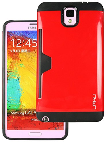 Heartly Cards Printed Design High Quality Hybrid Tough Armor Hard Bumper Back Case Cover For Samsung Galaxy Note 3 N9000 N9005 - Hot Red  available at amazon for Rs.199