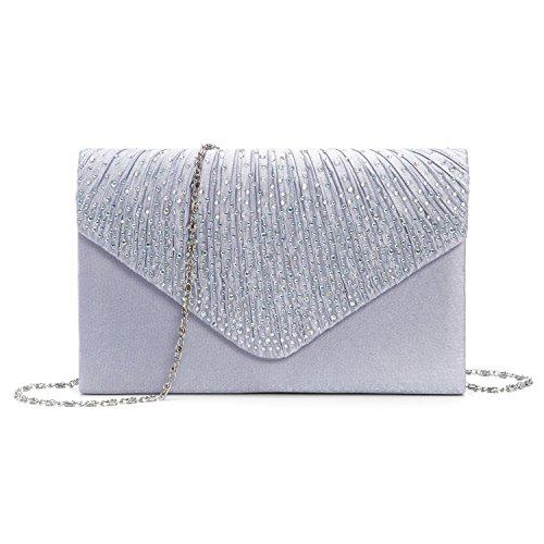 Damen Handtasche Abendtasche Clutch Satin Abend Party Brauttasche Diamante Kupplung Shouler Beutel Der Braut Prom Handtasche Schwarz (Silber) (Silber-abend Handtasche)