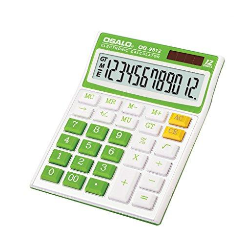 Taschenrechner 12-stellig Standard Function Tischrechner Bürorechner Rechenmaschine Dual-Power(Solar und Batterie) Calculator mit großem Display